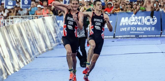 Alistair kardeşine sarılıp yarışı bitirmesine yardımcı oldu