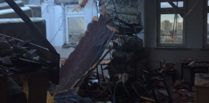 Şiddetli rüzgar kule vinci okulun üzerine devirdi