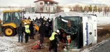 Kayseri'de 2 yolcu otobüsü devrildi