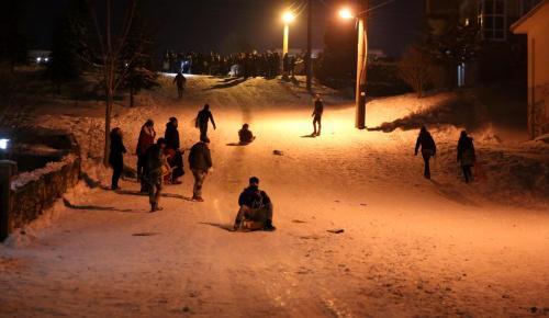 Edirne'de kızakla kar keyfi